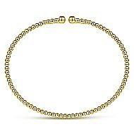 14k Yellow Gold Beaded Open Bangle Bracelet