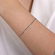 14k Yellow Gold Beaded Open Pave Diamond Bangle Bracelet