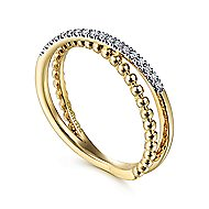 14k Yellow Gold Beaded Pave Diamond Fashion Ladies' Ring
