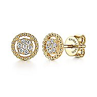 14k Yellow Gold Beaded Round Diamond Cluster Stud Earrings