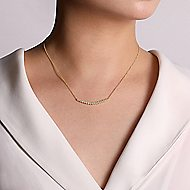 14k Yellow Gold Bezel Set Diamond Bar Necklace