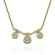14k Yellow Gold Bezel Set Diamond Trio Choker Necklace
