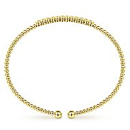 14k Yellow Gold Bujukan 12 Diamond Beaded Open Bangle