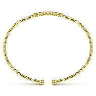 14k Yellow Gold Bujukan 7 Diamond Open Bangle