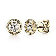 14k Yellow Gold Bujukan Stud Earrings angle 1