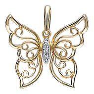 14k Yellow Gold Butterfly Fashion Pendant angle 1