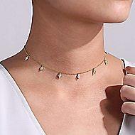 14k Yellow Gold Cascade Choker Choker Necklace angle 3