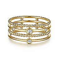 14k Yellow Gold Constellations Fashion Ladies' Ring angle 1