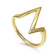 14k Yellow Gold Contemporary Midi Ladies Ring