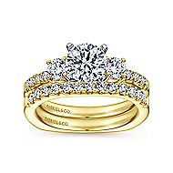14k Yellow Gold Contemporary Straight Wedding Band angle 4