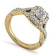 14k Yellow Gold Cushion Cut Halo Engagement Ring angle 3