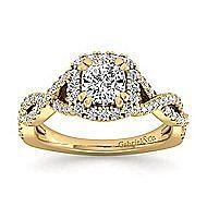 14k Yellow Gold Cushion Cut Halo Engagement Ring angle 5