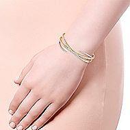 14k Yellow Gold Demure Bangle angle 4