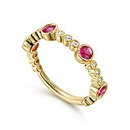 14k Yellow Gold Diamond & Ruby Stackable Ring
