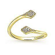 14k Yellow Gold Diamond Accented Open Wrap Ladies Midi Ring