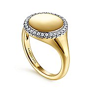 14k Yellow Gold Diamond Pinky Ladies Ring