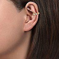 14k Yellow Gold Diamond Square Earcuff Earring