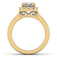 14k Yellow Gold Emerald Cut Halo Engagement Ring angle 2