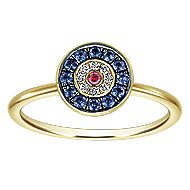 14k Yellow Gold Evil Eye Fashion Ladies' Ring angle 4