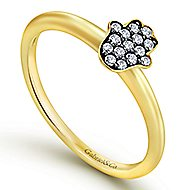 14k Yellow Gold Faith Hamsah Ladies Ring