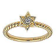 14k Yellow Gold Faith Star Of David Ladies' Ring angle 4