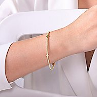 14k Yellow Gold Faith Tennis Bracelet angle 3