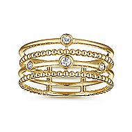 14k Yellow Gold Fashion Bezel Set Diamond Ladies Ring