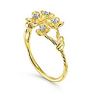 14k Yellow Gold Floral Fashion Ladies Ring
