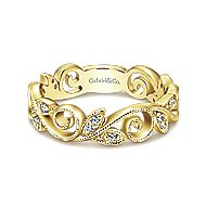 14k Yellow Gold Floral Midi Ladies Ring