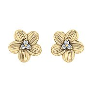 14k Yellow Gold Floral Stud Earrings angle 1