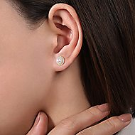 14k Yellow Gold Grace Stud Earrings angle 2