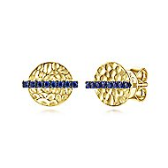 14k Yellow Gold Hammered Disc Sapphire Bar Stud Earrings