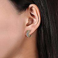 14k Yellow Gold Hampton Huggie Earrings angle 2