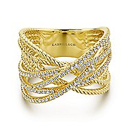 14k Yellow Gold Hampton Twisted Ladies' Ring angle 1