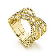 14k Yellow Gold Hampton Twisted Ladies' Ring angle 3