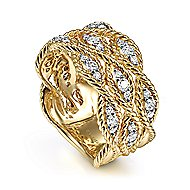 14k Yellow Gold Hampton Wide Band Ladies Ring