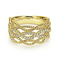 14k Yellow Gold Hampton Wide Band Ladies' Ring angle 1