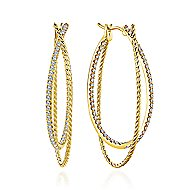 14k Yellow Gold Intricate Twisted Diamond Double Hoop Earrings