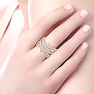 14k Yellow Gold Layered Diamond Wide Band Fashion Ring