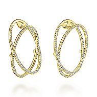 14k Yellow Gold Lusso Intricate Hoop Earrings