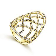 14k Yellow Gold Lusso Statement Ladies Ring