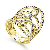 14k Yellow Gold Lusso Twisted Ladies Ring