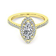 14k Yellow Gold Marquise  Halo Engagement Ring angle 2
