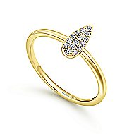 14k Yellow Gold Midi Ladies' Ring angle 3