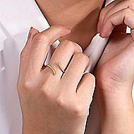 14k Yellow Gold Open Wrap Pave Diamond Ladies Fashion Ring