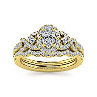 14k Yellow Gold Oval Halo Engagement Ring angle 4