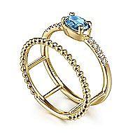 14k Yellow Gold Oval Swiss Blue Topaz & Diamond Fashion Ring