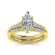 14k Yellow Gold Pear Shape Halo Engagement Ring angle 4