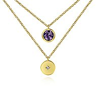 14k Yellow Gold Round Amethyst & Diamond Fashion Necklace