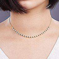 14k Yellow Gold Round Diamond Choker Necklace